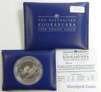 1998 KOOKABURRA PROOF 1oz Silver Coin in Wallet