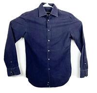 Emporio Armani Blue Button Dress Shirt Small Striped Navy Slim Untucked #2260