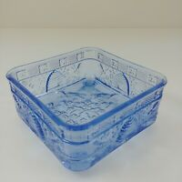 b5009c596d03 Indiana Glass Tiara Blue Honey Beehive Square Footed Candy Dish without Lid