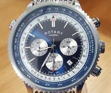 Mens Swiss Rotary Exclusive Interchangeable Bracelet Pilots Aviator Chrono Watch