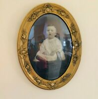 """Antque applique gold frame Baby portrait under bubble glass convex 24.5"""" x 18.5"""""""