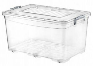 50 Litre Rectangle Lidded Storage Box on Wheels Quality Clear Plastic Container