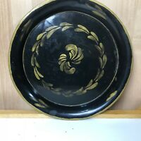 Vintage Black Metal Round Tray Gold Tole Painted