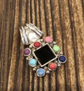 SIGNED SX Sterling Silver & Black Onyx, Turquoise, Coral, Lapis Pendant 925