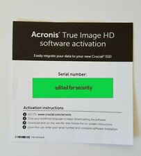 Acronis True Image HD Backup Software Activation Key - works on all drives!