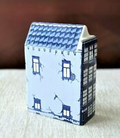 Vintage Delft Blue Anne Frank Huis Holland Canal House Hand Painted #4 Porcelain