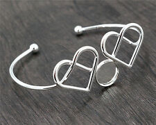 2pcs 12mm Silver Plated Heart Bangle with 12mm Cabochon Setting