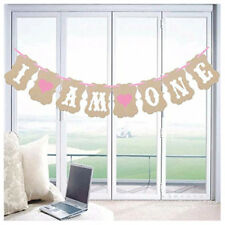 I am One Banner for Girl (Pink)- First Birthday Decorations - 1st Birthday T9 FK
