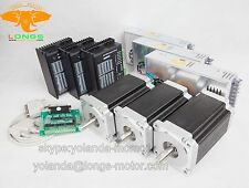 USA ship free!CNC LONGS 3 Axis Nema 34 Stepper Motor 1232oz-in 5.6A +Driver 80V