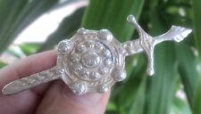 Silver Scottish Iona Celtic Sword & Shield Brooch / Kilt Pin c.1950s