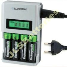 1 Hour FAST LCD Mains BATTERY CHARGER for 4 AA or AAA Ni-Mh Ni-Cd EU PLUG 1HR