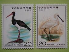 Korea 1976 Birds 4th Issue Set/2 Black-faced Spoonbill Black stork MNH Sc#1021-2