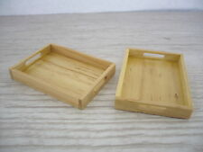 Set of 2 Wooden Serving Tray with Handle Dollhouse Miniature Display Kitchenware