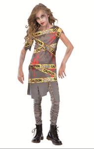 Kids Boys Caution Tape Zombie Warning Apocalypse Biohazard Halloween Costume