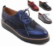 LADIES WOMENS TRENDY RETRO FLAT LACE UP BROGUE METALLIC OFFICE SHOES SIZE