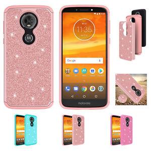 For Motorola Moto E5 Supra Case, HD Screen Protector Hybrid Glitter Bling Cover