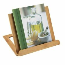 mDesign Bamboo Adjustable Kitchen Counter Cookbook Holder Stand - Natural Wood