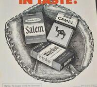 1973 Baseball Cigarettes Leads League Taste Salem Camel Winston Vintage Print Ad