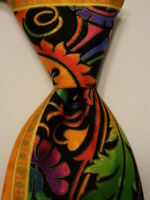 VITALIANO PANCALDI Mens 100% Silk Necktie ITALY Luxury Geometric Multi-Color EUC
