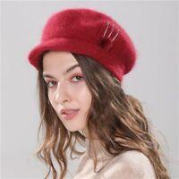Women Hat Knitted Winter Beret Girl Rabbit Fur Fashion Beanie Cap With Brim Warm