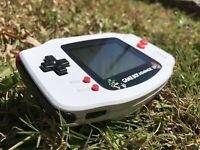 Nintendo Gameboy Advance GBA Red White Black Handheld Gaming Console - Mario