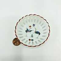 Antique Porcelaine Musee Conde Chantilly Heron Reticulated Ring Holder Bowl 3""