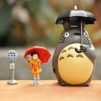 3PCS Totoro With Umbrella Girl Bus Stop Sign Miyazaki Anime Classic Scene Figure