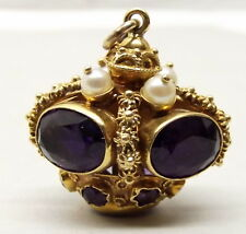 Vtg 18K Gold Amethyst Pearl Crown Pendant Cannetille Ornate Bauble Sputnik