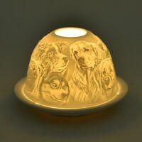 Set of 2 Dog Engraved Ceramic Home Decor Candle Holders with LED Light