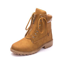 Women Winter Martin Ankle Boots Outdoor Work Casual Waterproof Zip Lace Up Shoes