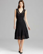 NWT Tracy Reese Black Checkered Lace Godet Dress S $328