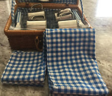 Vintage - Blue Lining - Child's Wicker Rattan Picnic Basket