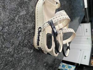 Christian Dior beige platform sandals Name & logo material is canvas & leather