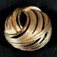 Vintage Statement Brooch Gold Tone Abstract Circle Swirl Pin