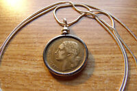 """1950-1953 Classic French 20 Franc Coin Pendant on a 24"""" 925 Silver Snake Chain"""