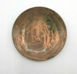 Vintage Copper Metal Ashtray Dish with Applied Kangaroo Figural