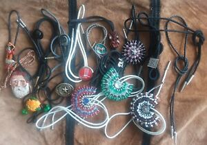 Lot 15 BOLO Ties Cowboy  Neckwear Unmarked + 2 without slides