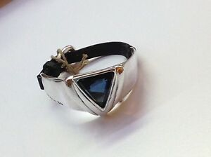"NWT Uno de 50 Silver-Plated/Leather Bracelet/Blue Swarovski Crystal ""Superunos"""