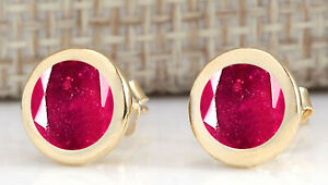 14KT Yellow Gold With 2.40Ct Round Cut Natural Burmese Red Ruby Solitaire Studs