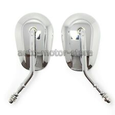 CHROME TEARDROP REARVIEW MIRRORS FOR HARLEY TOURING SOFTAIL ROAD KING FAT BOY