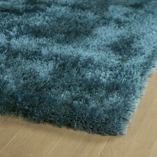 5x7 Designer Modern Contemporary Hand Tufted Plush Silky Shag Teal Blue Area Rug