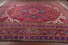 Vintage Geometric Vibrant Color Heriz Serapi Area Rug Hand-Knotted Carpet 10x12