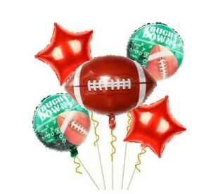5 Pcs Sport Themed  Foil Balloons Football, Rugby, Golf, Tennis Birthday Party