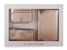 Ivanka Trump LEATHER Travel Wallet, Key Pouch & Card Case Gift Set~ROSE GOLD~NIB
