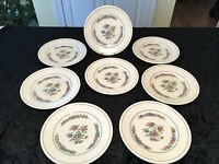 """Vintage Set of 8 WEDGWOOD ETRURIA AK7488 """"Plymouth"""" 9"""" FLORAL LUNCHEON PLATES"""