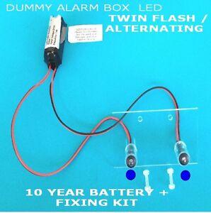 Decoy Siren Dummy Alarm Kit (Blue LEDs) Fixing Kit inc -10 Yr Batt