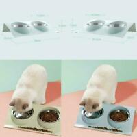 Pet Dog Cat Double Feeding Bowls Pet Bowl Water Food Dish S/L Feeder Hot A5P5