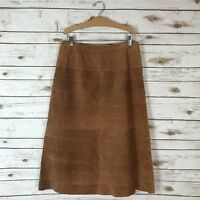 Boutique Europa Tan Brown 100% Leather Fully Lined A-Line Skirt Size 8 *Flaw*