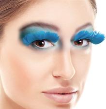 Ladies Turquoise Blue Feather False Eyelashes Carnival Halloween Fancy Dress
