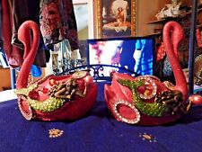Artist made Mermaids Riding Swans Candle Holders Up-Cycled Beautiful!